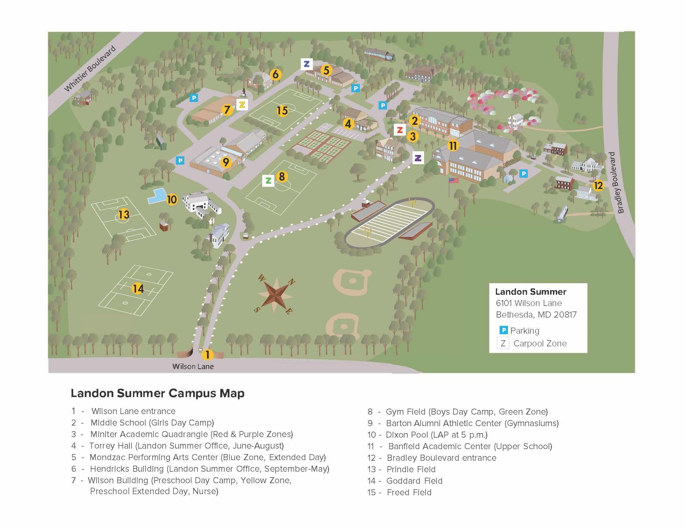 Landon Summer Campus Map