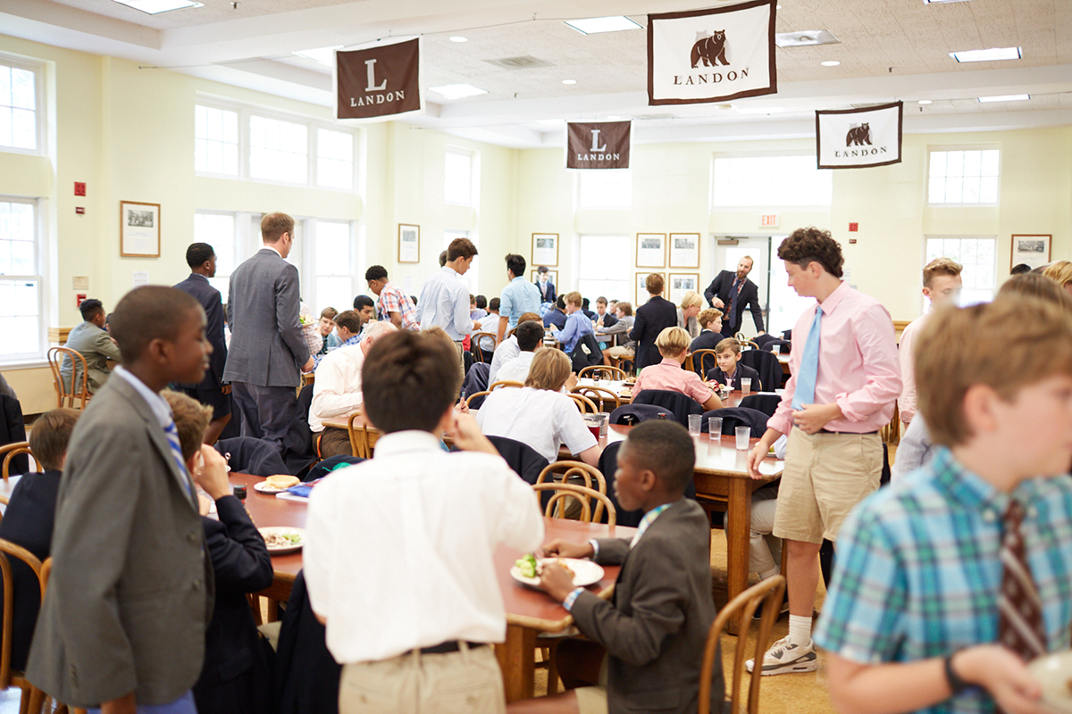 Landon middle school students and teachers enjoy lunch in the restaurant